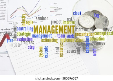 Project management with office stationery  around the word cloud. Analysis and planning keywords.
