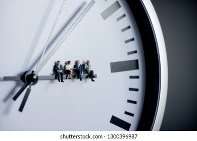 Project management, team work and time management concept.