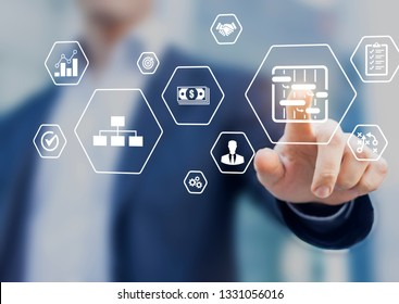 Project management tools and skills concept with professional manager touching icons of planning, schedule, organization of work, quality, risks, budget