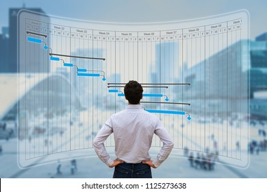 Project manager working with Gantt chart planning, tracking milestone and deliverables and updating tasks progress, scheduling skills, on virtual screen with city background