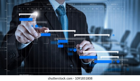 Project manager working and update tasks with milestones progress planning and Gantt chart scheduling diagram.Businessman hand pressing an imaginary button on virtual screen.