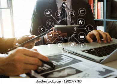 Project manager working and update tasks with milestones progress planning and Photo professional investor working new start up project.