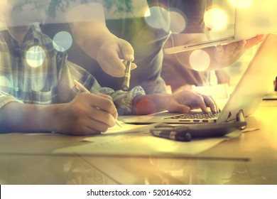 Project managers meeting.Business crew working with new startup,Teamwork concept,man and woman discussion document in the office.collaborative filtering.Analyze plans.selective focus,vintage color