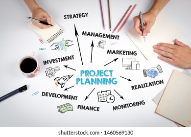 Project Planning Concept. The meeting at the white office table