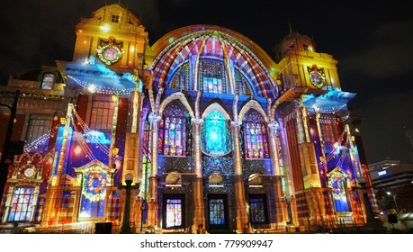 Projection mapping at Osaka city central public hall