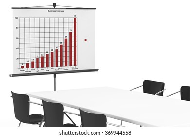 Projection Screen with Business Chart, Table and Chairs on a white background