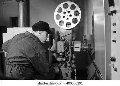 projectionist at work in the room projectionist