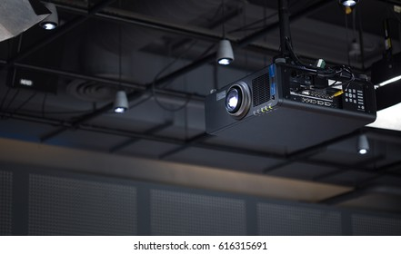 Projector in office room ready for presentation