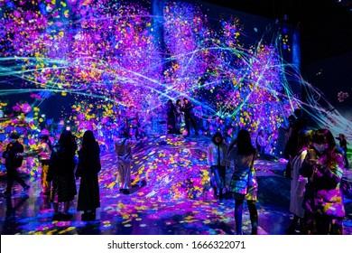 Projector and reflecting light effect art at teamLab Borderless Tokyo Odaiba, Tokyo/Japan February 8,2020