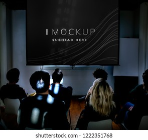 Projector screen mockup in a conference