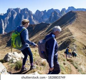 Prokletije, Albania, October 2019: Mountine Prokletije, Hiking