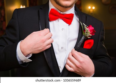 Prom Formalwear Detail of Bow Tie and Boutonniere