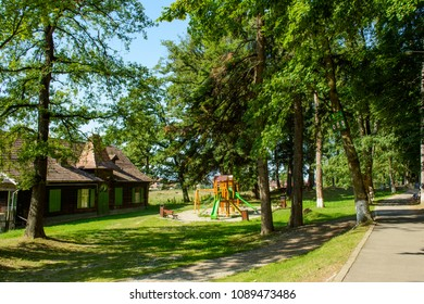 Promenada Sisi Park from Rasnov city, Brasov county, Transylvania, Romania