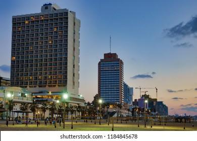 Promenade after subset, Tel Aviv, Israel