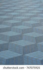 Promenade along the beach in Alicante, Spain. Road tiles