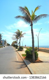 Promenade along the beach in the city of Puducherry or Pondicherry, India.