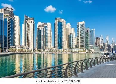 Promenade along Dubai Marina, United Arab Emirates, Middle East