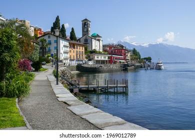 Promenade along Lage Maggiore in the village of Brissago in the canton of Ticino, Switzerland, close to the Swiss-Italian border.