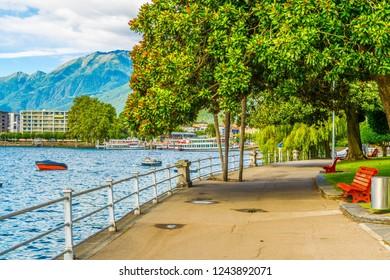 Promenade alongside Locarno lake in Switzerland