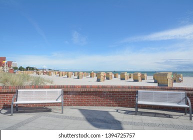 Promenade and Beach of Groemitz at baltic Sea,Schleswig-Holstein,Germany