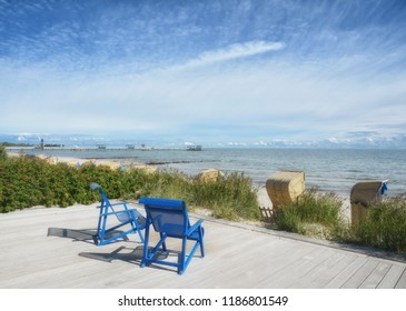 Promenade and Beach of Kellenhusen at baltic Sea,Schleswig-Holstein,Germany