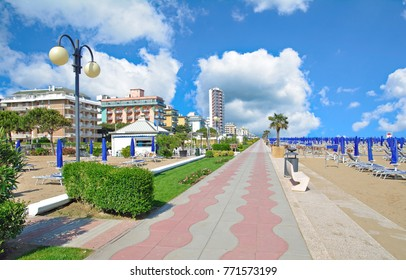 Promenade and Beach of Lido di Jesolo at adriatic Sea,Veneto,venetian Riviera,Italy
