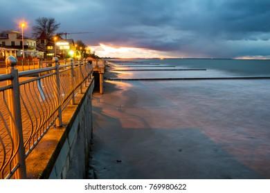 promenade by the evening sea