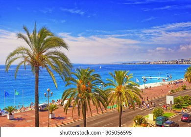 Promenade d Anglais (English promenade) in Nice, France in summer. Aerial view to the West