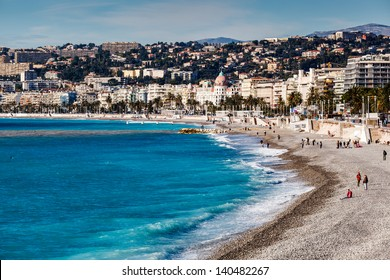 Promenade des Anglais and Beautiful Beach in Nice, French Riviera, France
