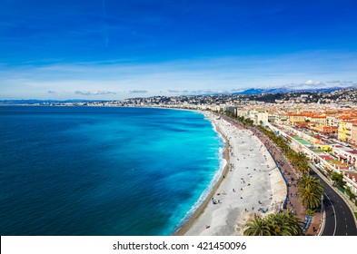 Promenade des Anglais viewpoint with the city and the airport in the background, Nice, France