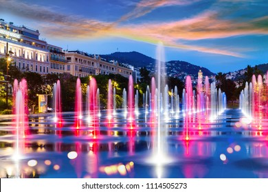 А Promenade du Paillon park, famous with its flat fountains in Nice, France