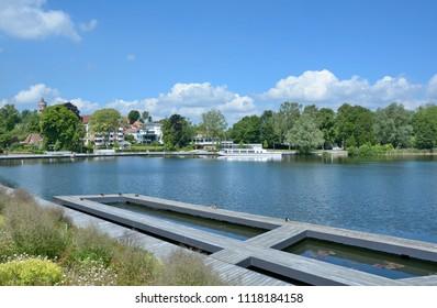 Promenade of Eutin at Lake Grosser Eutiner See in Holstein Switzerland,Schleswig-Holstein,Germany