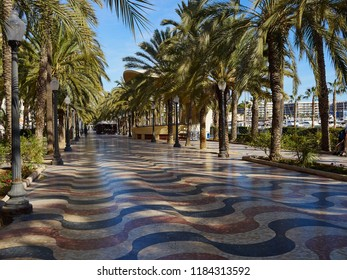 Promenade Explanada the main and famous landmark tourist street Alicante Valencia Costa Blanca Spain