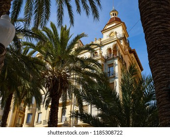 Promenade Explanada the main and famous landmark tourist street Alicante Valencia Costa Blanca Spain