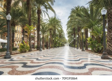Promenade Explanada - the main tourist street in Alicante, Spain