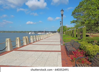Promenade of the Henry C. Chambers Waterfront Park located south of Bay Street in the Historic District of downtown Beaufort, South Carolina
