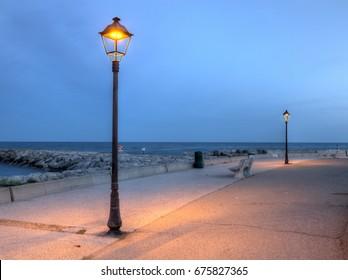 Promenade near the sea, Saintes-Maries-de-la-mer, France, HDR