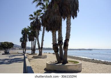 Promenade at Public city Beach in San Buena Ventura and wooden pier, Ventura, CA; Backlit, Back Lit