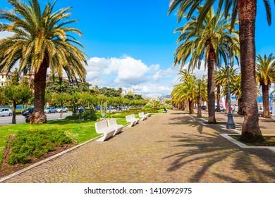 Promenade in the public park near the La Spezia city port, Liguria region of Italy