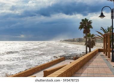 Promenade of Roquetas de Mar. Stormy weather. Province of Almeria. Spain