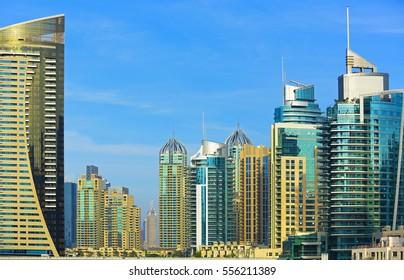 Promenade and skyscrapers in luxury Dubai Marina,Dubai, United Arab Emirates