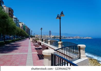 """Promenade street in Sliema city on Malta. The street is called """"Ix - Xatt Ta' Qui - Si - Sana"""""""