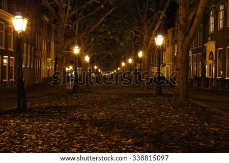 Promenade with streetlights