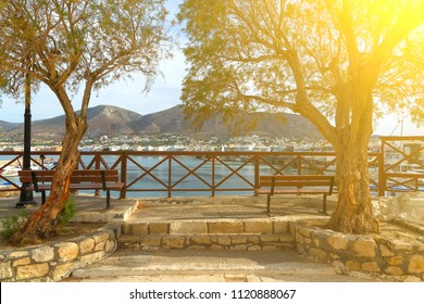Promenade at sunset in city of Hersonissos, Crete, Greece
