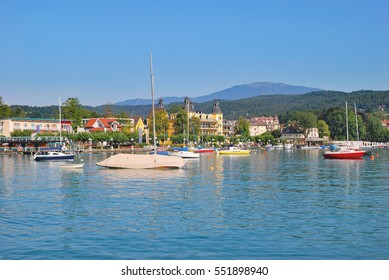 Promenade of Velden at Lake Worthersee,Carinthia,Austria
