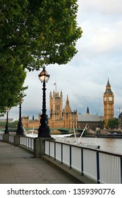 Promenade of Westminster South Bank, The Palace of Westminster and Westminster Bridge present in the background, nobody present.