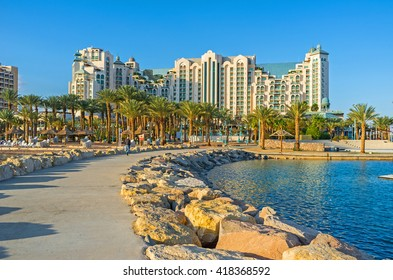 The promenades and piers of Eilat are the best places in resort to enjoy the lazy walks and views, Israel.