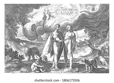 Prometheus gives man the fire, Every two men different animals (elephant, lion, monkey, dog, turtle, cow, deer). In the clouds Minerva, Jupiter and Helios, vintage engraving.