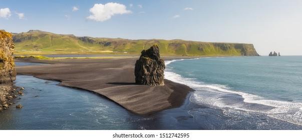 Prominent Sea Stack  Kirkjufjara beach, Iceland