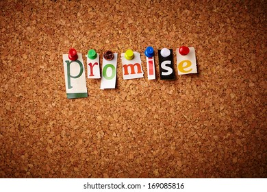Promise - Cut out letters pinned on a notice board.